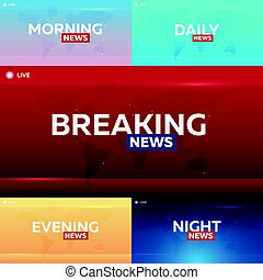 Set of Mass media. Morning, night, daily and evening news. Breaking news banner. Live. Television studio. TV show.