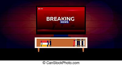 Mass media. Breaking news banner. Live. TV show. - Mass...