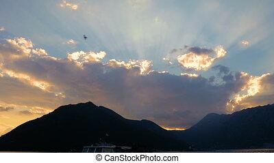 Sunset sky clouds sun rays