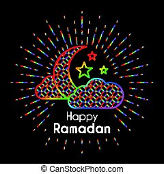 Rainbow Greeting Card for celebration of Holy Month Ramadan...