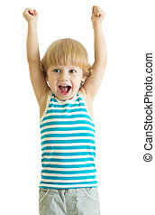 child boy with arms up looking happy, isolated on white