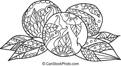 Coloring pages for adults.Hand drawn sketch style peach....