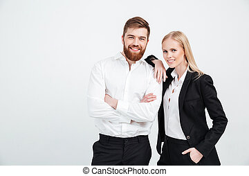 Colleagues business team standing over white background