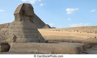 Sphinx and Great Pyramids in Giza Egypt