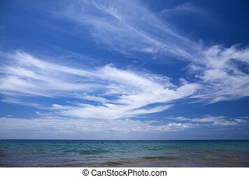 cirrus clouds over ocean - beautiful light cirrus clouds...