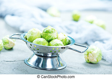 brussel sprouts on a table, stock photo