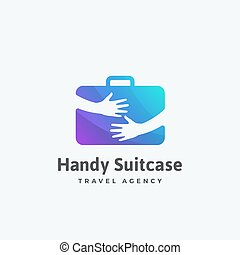 Handy Suitcase Travel Agency Abstract Vector Sign, Emblem or...
