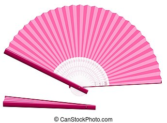 Pink Hand Fan Open Closed - Pink hand fan for cooling when...