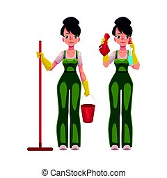 Cleaning service girl in overalls holding mop, bucket,...