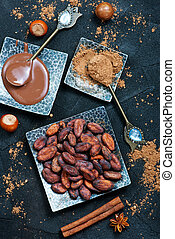 cocoa beans on the plate, stock photo