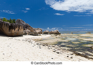 rocks on seychelles island beach in indian ocean - travel,...