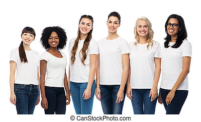 international group of women in white t-shirts - diversity,...