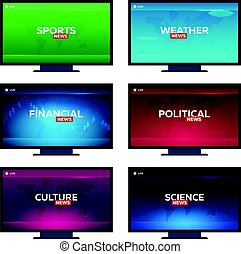 Set of Mass media. Sports, weather, financial, political,...