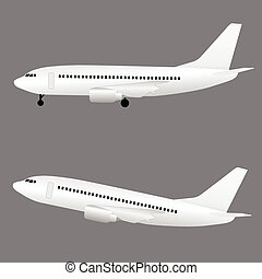 airplane in white color flight set illustration on grey background