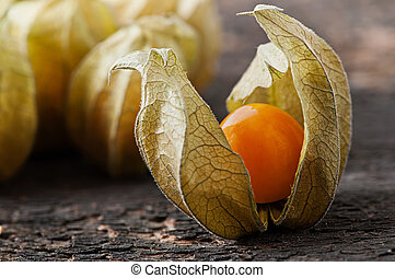 Physalis on an old wooden background.