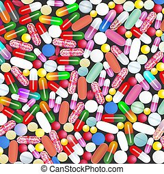 A lot of medicines and pills from the colorful pill all diseases Medical background