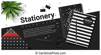 Creative scene with black and white stationery background 1
