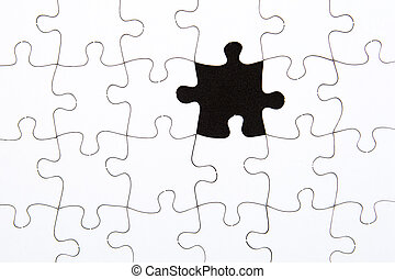 Puzzle Pieces - white with black missing space