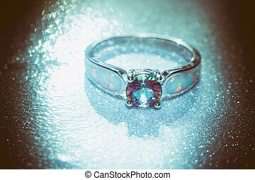 Rainbow Topaz Ring Filtered - Fashion ring with mystic...