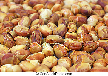 Layer of roasted soy nuts