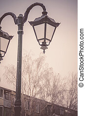 Street Lamp in the Park Retro - Vintage street lamp in the...