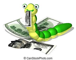 Caterpillar and money - Three-dimensional cartoon the image...