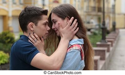 Affectionate young couple embracing each other - Attractive...