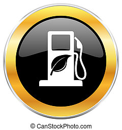 Biofuel black web icon with golden border isolated on white...