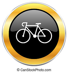 Bicycle black web icon with golden border isolated on white...