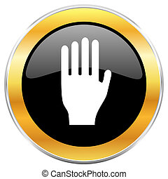 Stop black web icon with golden border isolated on white...