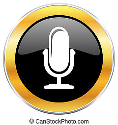 Microphone black web icon with golden border isolated on...