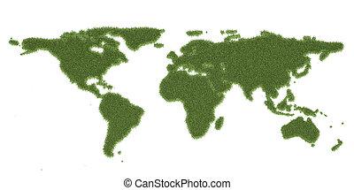 Ecology world map, from green grass. 3D rendering