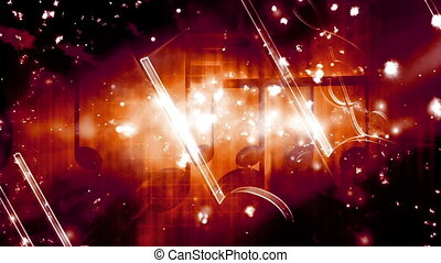 Music abstract animated looping CG backdrop in red orange...