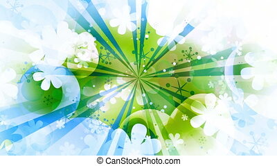 Green blue and white new retro looping abstract animated CG...
