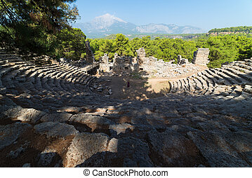 Ruins of the city of Phaselis, tourist attraction of Turkey...