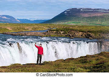 Landscape of Iceland with Godafoss waterfall - Godafoss...