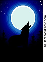 Wolf howling at the moon in forest. Dark background