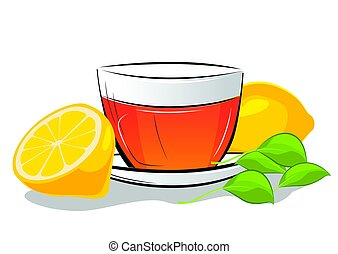 Cup of tea with lemon and mint leafs