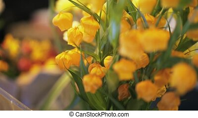 Yellow flower bunch in a shop close up