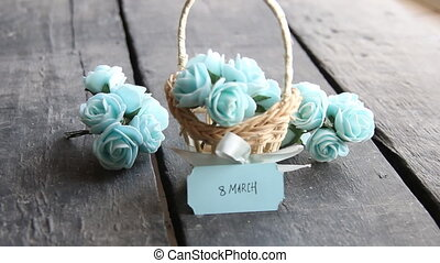 March 8. Rustic still life, roses and tag - March 8 label...