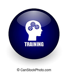 Training blue glossy ball web icon on white background. Round 3d render button.