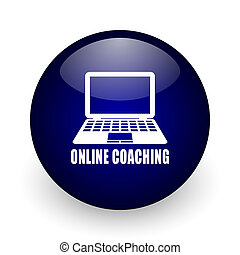Online coaching blue glossy ball web icon on white background. Round 3d render button.
