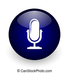 Microphone blue glossy ball web icon on white background....