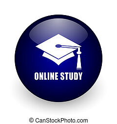 Online, study blue glossy ball web icon on white background. Round 3d render button.