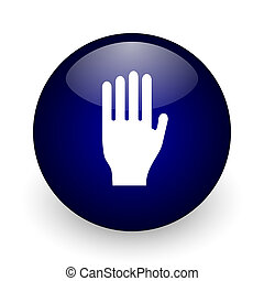 Stop blue glossy ball web icon on white background. Round 3d...
