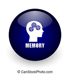 Memory blue glossy ball web icon on white background. Round 3d render button.