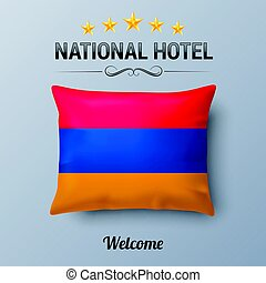 National Hotel - Realistic Pillow and Flag of Armenia as...