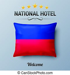 National Hotel - Realistic Pillow and Flag of Haiti as...