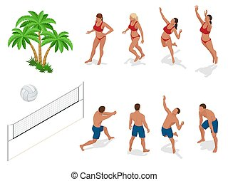 Figures of people when playing volleyball. Beach volley ball...