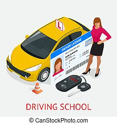 Design concept driving school or learning to drive. Flat...